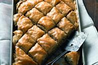 """The walnuts are still there. So are the pistachios, the cardamom, and the honey. The bacon adds a salty, savory punch to counter all that sweetness. <a href=""""https://www.epicurious.com/recipes/food/views/bacon-baklava-51225820?mbid=synd_yahoo_rss"""" rel=""""nofollow noopener"""" target=""""_blank"""" data-ylk=""""slk:See recipe."""" class=""""link rapid-noclick-resp"""">See recipe.</a>"""