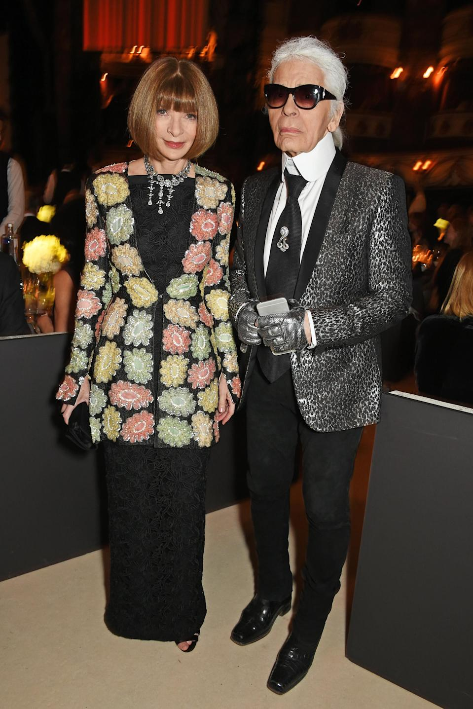 <p>Karl Lagerfeld poses with Anna Wintour at the 2015 British Fashion Awards. <em>[Photo: Getty]</em> </p>