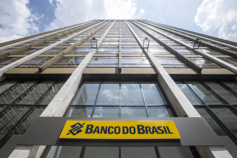 Sao Paulo, Brazil - december 29 2019 - Lettering and logo of Banco do Brasil bank branch. Facade of bank branch, advertising sign and logo. Company listed on B3, the Stock Exchange in Brazil
