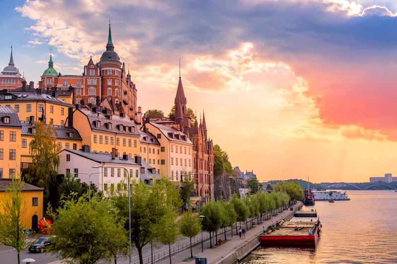 Stockholm, Sweden. Scenic summer sunset view with colorful sky of the Old Town architecture in Sodermalm district