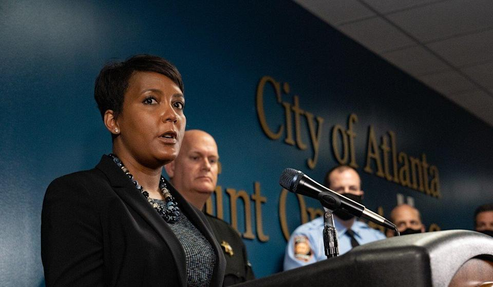 Atlanta Mayor Keisha Lance Bottoms at the news conference on Wednesday discussing the shootings at three Atlanta-area spas. Photo: Getty Images via TNS