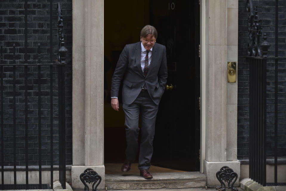 Guy Verhofstadt leaves Downing Street after meeting Theresa May in March (Getty)