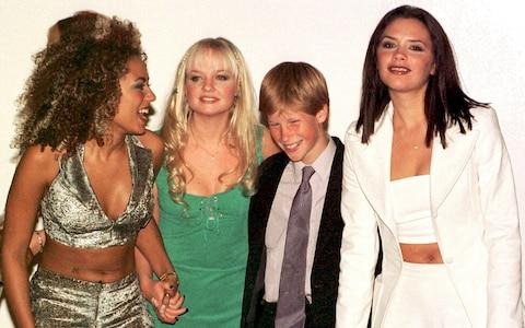 Prince Harry, aged 13, with Mel B, Emma Bunton and Victoria Beckham - Credit: John Stillwell
