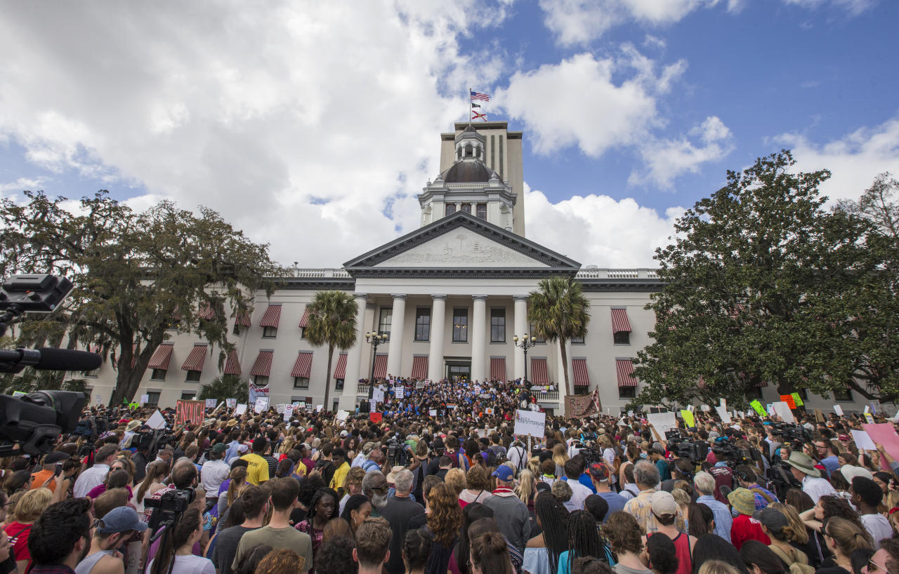 <p>Protesters rally against gun violence on the steps of the old Florida Capitol in Tallahassee, Fla., Wednesday, Feb 21, 2018. (Photo: Mark Wallheiser/AP) </p>
