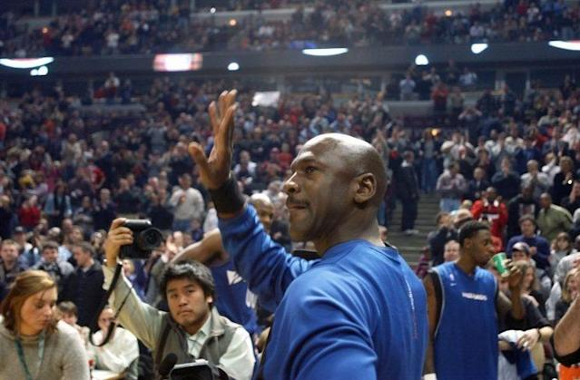 The 14-time all-star and six-time finals MVP led the Bulls to six NBA championships before retiring (for a second time) in 1998. He returned to Chicago three years later after signing with Washington, and in his first game back to the United Center — following a three-minute ovation from the Chicago faithful — MJ played 41 minutes, putting up 16 points and adding 12 rebounds as the Wizards defeated the Bulls 77-69. (Photo credit: The Canadian Press)
