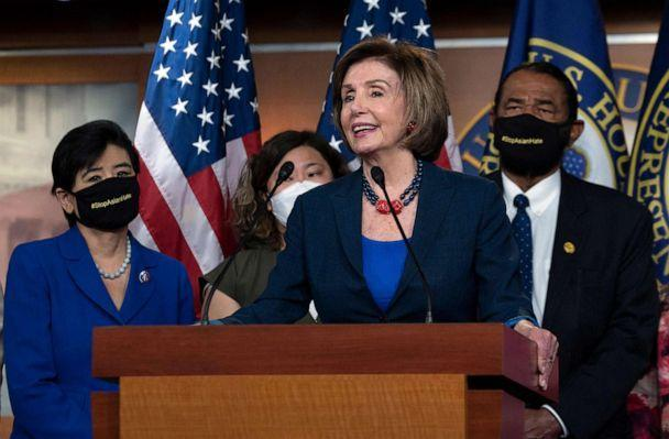 PHOTO: Speaker of the House Nancy Pelosi speaks during a new conference with House Democrats and the Congressional Asian Pacific American Caucus on the 'Covid-19 Hate Crimes Act' on Capitol Hill in Washington, DC, May 18, 2021. (Andrew Caballero-reynolds/AFP via Getty Images)