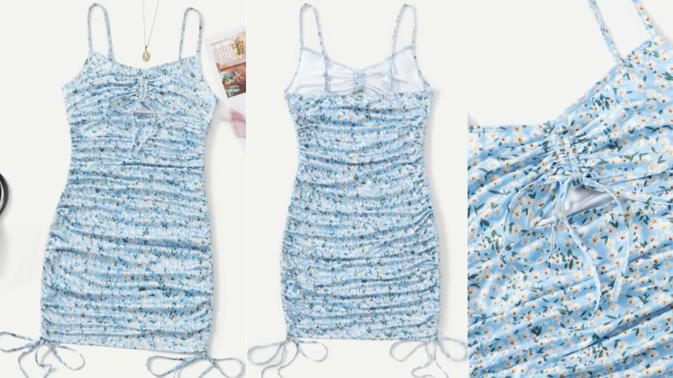 Small Floral Ruched Bodycon Dress - Shein, $ 15