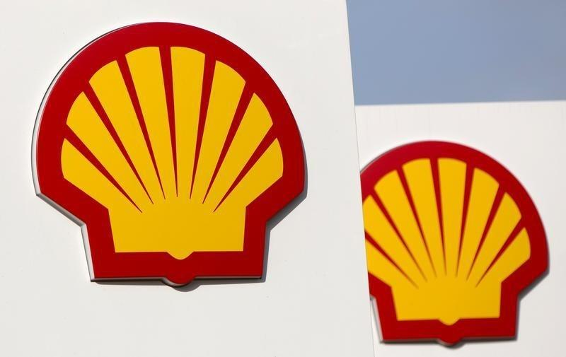 Logos for Shell are seen on a garage forecourt in central London