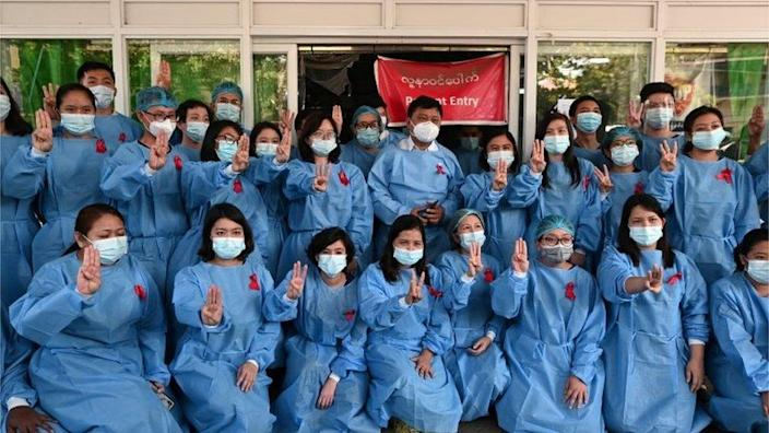 Yangon General Hospital - medics wear red ribbons in protest, 3 February 2021
