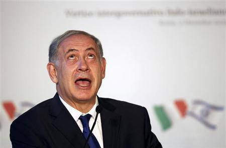 Israeli Prime Minister Benjamin Netanyahu gestures as he talks during a joint news conference with his Italian counterpart Enrico Letta at the end of a bilateral meeting in Rome