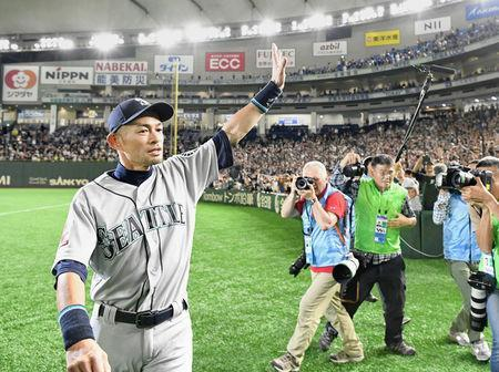 Seattle Mariners right fielder Ichiro Suzuki waves to fans after the game against the Oakland Athletics at Tokyo Dome in Tokyo, Japan, in this photo taken by Kyodo March 21, 2019. Mandatory credit Kyodo/via REUTERS