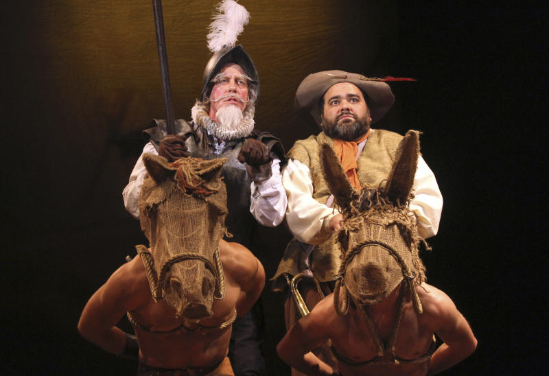 This June 7 2012 photo released by the University of Connecticut shows Terrence Mann, left, and Richard Ruiz Performing in a theater production of Man of La Mancha on the university campus in Storrs, Conn.  Mann is spending his second summer at the Connecticut Repertory Theater's Nutmeg Summer Series, lending Broadway star power to help to establish the program as a summer destination for high-quality theater.  (AP Photo/University of Connecticut, Gerry Goodstein)