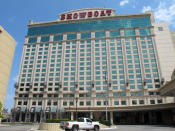 This Wednesday, April 21, 2021, photo shows the exterior of the Showboat hotel in Atlantic City, N.J. Philadelphia developer Bart Blatstein is spending nearly $130 million on attractions at the former casino including an indoor water park; a retractable domed concert hall, a beer garden and a Boardwalk sun deck to increase family entertainment options in Atlantic City. (AP Photo/Wayne Parry)