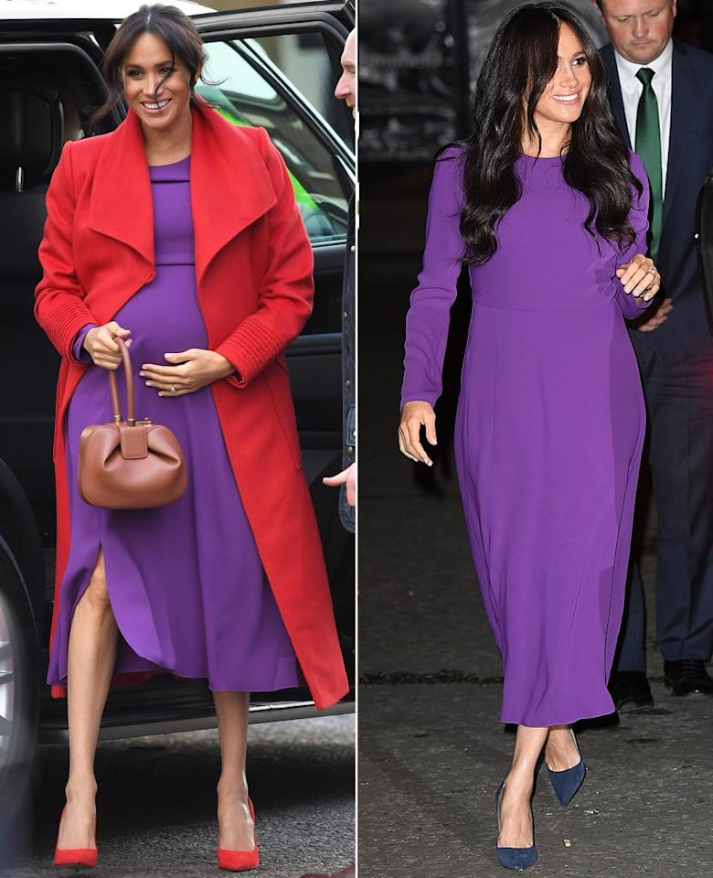 """For the One Young World Summit in October, Meghan Markle stepped out in a purple midi dress with long sleeves by <a href=""""https://www.aritzia.com/us/en/product/maxwell-dress/69841.html?country=us"""">Aritzia</a>— a piece she previously<a href=""""https://people.com/royals/meghan-markle-purple-red-outfit-copies-princess-diana/"""">paired with a red jacket</a>for a visit to Birkenhead early this year while pregnant with son<a href=""""https://people.com/tag/archie/"""">Archie</a>. She completed the look the second time around with navy heels and her hair worn in a bouncy blowout parted down the middle."""