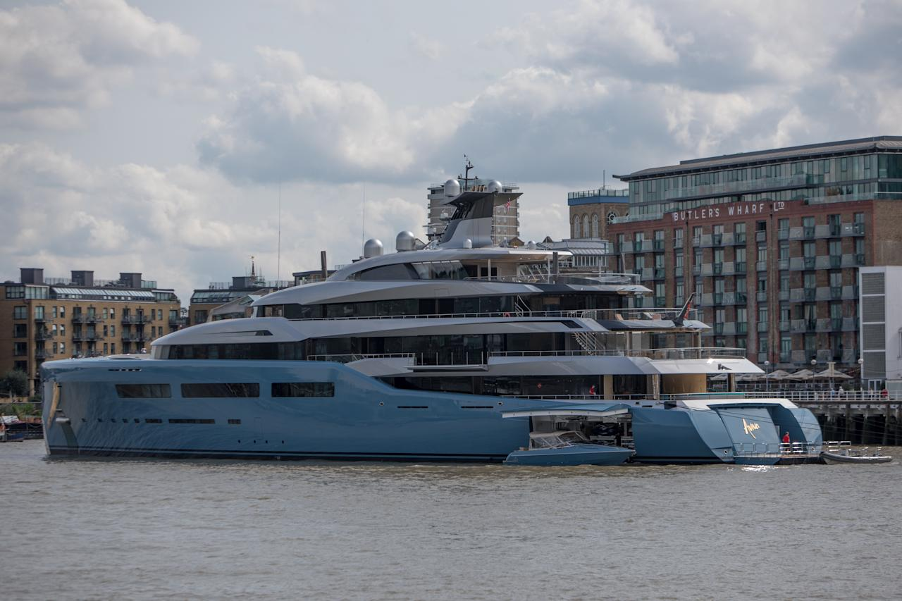 <p>Mine's bigger than yours: The Aviva superyacht is one of the biggest of its kind in the world. (WENN) </p>