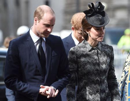 Britain's Prince William and Prince Harry, and Catherine, the Duchess of Cambridge, arrive at a Service of Hope at Westminster Abbey, following the attack on Westminster Bridge two weeks ago, in London