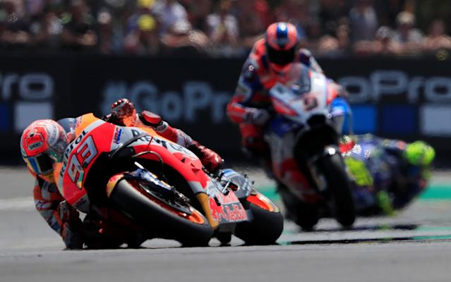 Motorcycling - MotoGP - French Grand Prix - Bugatti Circuit, Le Mans, France - May 20, 2018 Repsol Honda Team's Marc Marquez during the race REUTERS/Gonzalo Fuentes