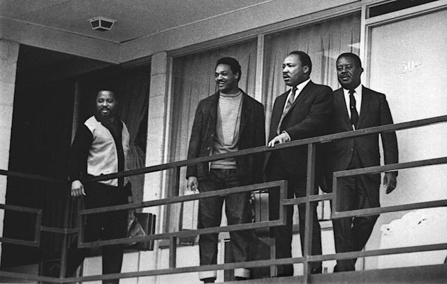 <p>Rev. Martin Luther King Jr. stands with other civil rights leaders on the balcony of the Lorraine Motel in Memphis, Tenn., a day before he was assassinated at approximately the same place, April 3, 1968. From left are Hosea Williams, Jesse Jackson, King, and Ralph Abernathy. (AP Photo) </p>