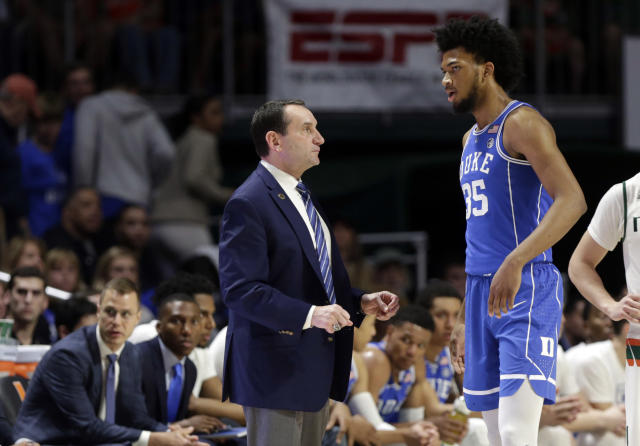 Duke head coach Mike Krzyzewski won't be able to rely on star forward Marvin Bagley III against Georgia Tech on Sunday. (AP Photo)