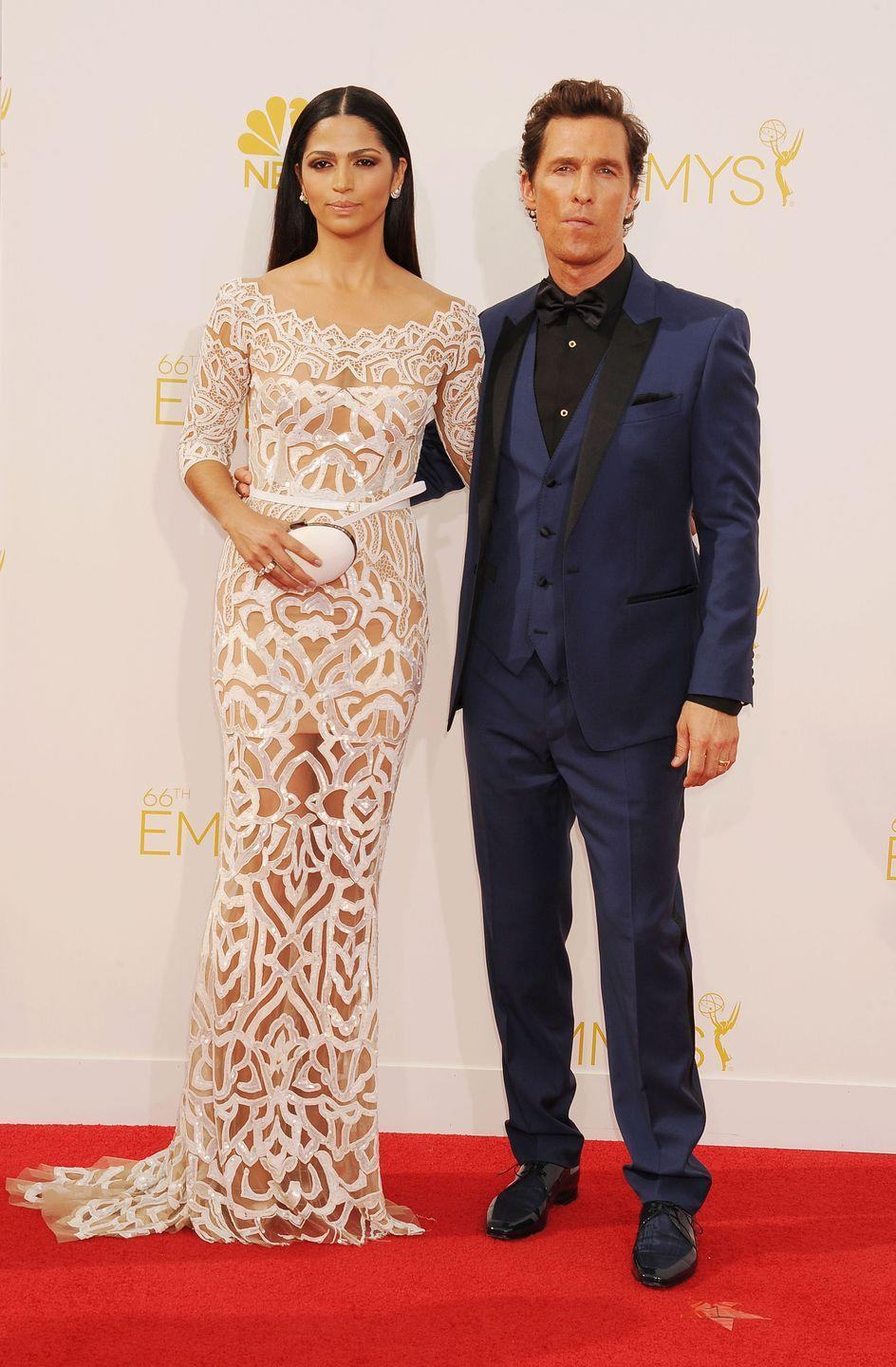 <p>The model always knows how to make a splash on the red carpet next to her Hollywood icon husband, such was the case in this intricately-designed column gown. </p>