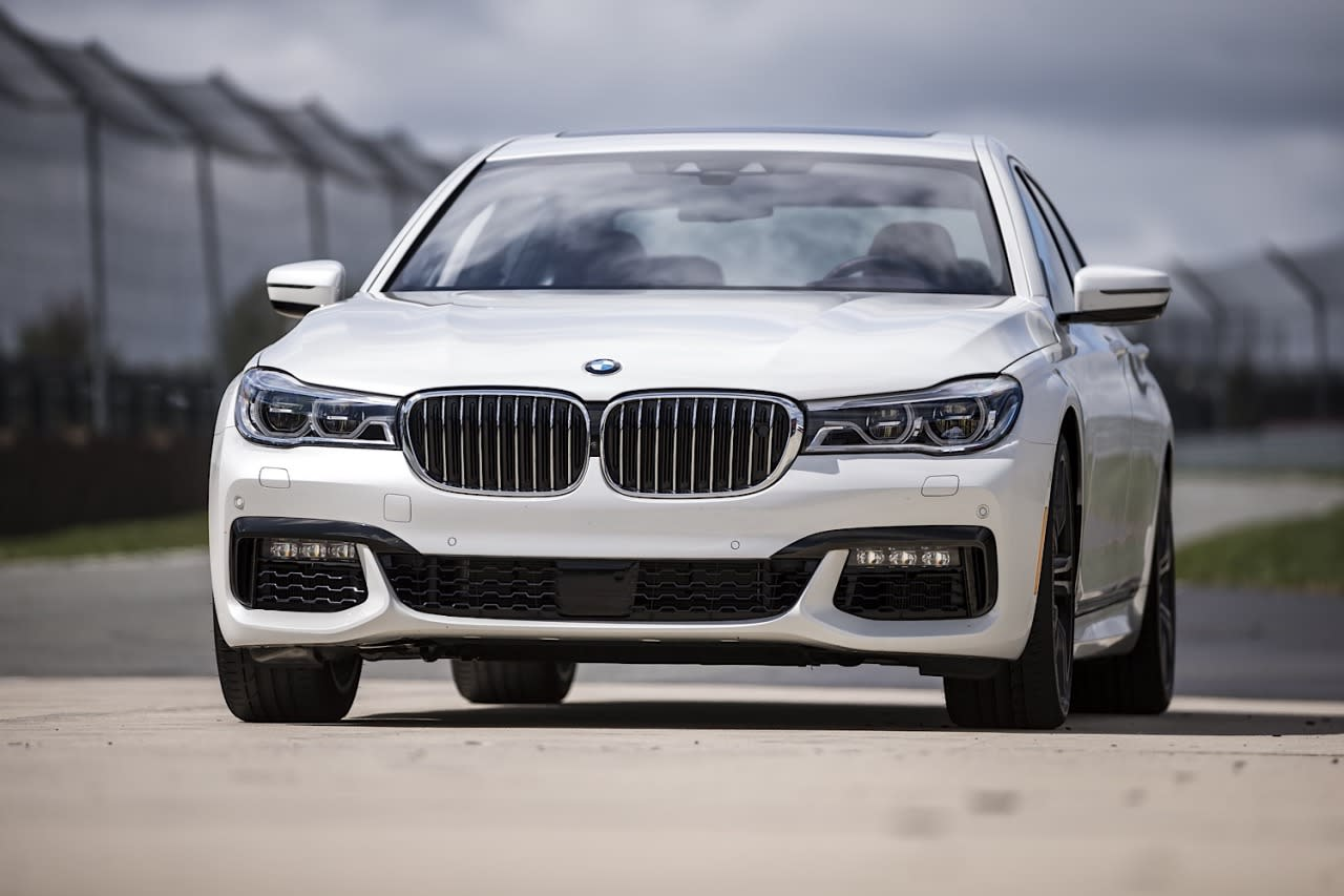 <p>Front view of the 2016 BMW 7-Series. BMW made fairly minimal changes in styling for the new model, focusing on the interior and technology instead.</p>