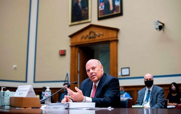 PHOTO: Postmaster General Louis DeJoy testifies during a House Oversight and Reform Committee hearing on slowdowns at the Postal Service ahead of the November elections on Capitol Hill in Washington, DC., Aug. 24, 2020. (Tom Williams/POOL/AFP via Getty Images)
