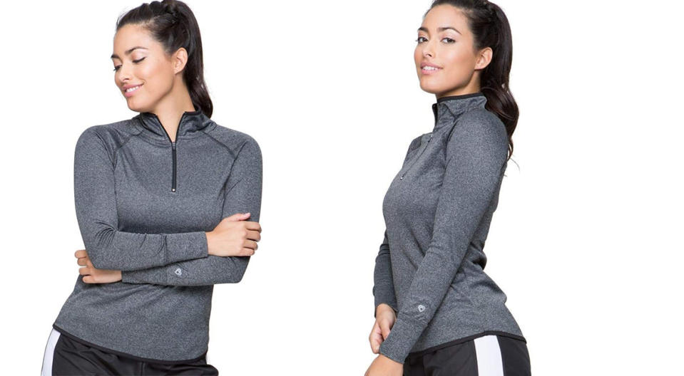 Colosseum Active Women's Bailey Rounded Bottom Fourway Stretch 1/4 Zip Shirt (Photo: Amazon)