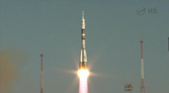 A Russian Soyuz rocket launches the Soyuz TMA-06M space capsule into orbit carrying three new members of the International Space Station's Expedition 33 crew on Oct. 23, 2012. The Soyuz launched from Baikonur Cosmodrome, Kazakhstan, and carried