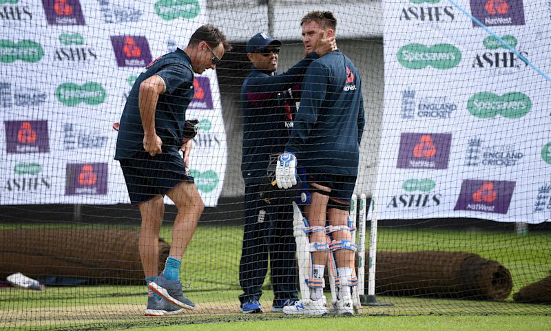 LEEDS, ENGLAND - AUGUST 20: Jason Roy of England receives treatment after being hit by a ball during a nets session at Headingley on August 20, 2019 in Leeds, England. (Photo by Gareth Copley/Getty Images)