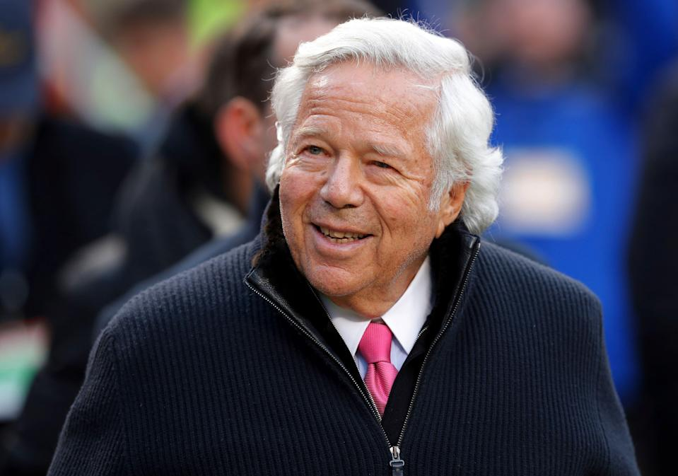 New England Patriots owner Robert Kraft walks on the field before the AFC Championship NFL football game between the Kansas City Chiefs and the New England Patriots, Sunday, Jan. 20, 2019, in Kansas City, Mo. (AP Photo/Charlie Neibergall)