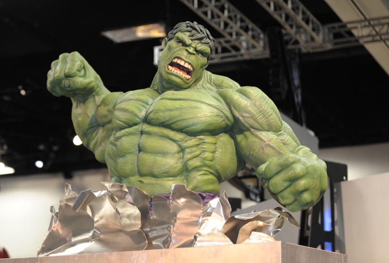 An Incredible Hulk model in the exhibit hall during the fourth day of the Comic-Con International 2011 convention held in San Diego Sunday, July 24, 2011. The annual comic book and popular arts convention attracts over 100,000 people and runs through Sunday July 24. (AP Photo/Denis Poroy)