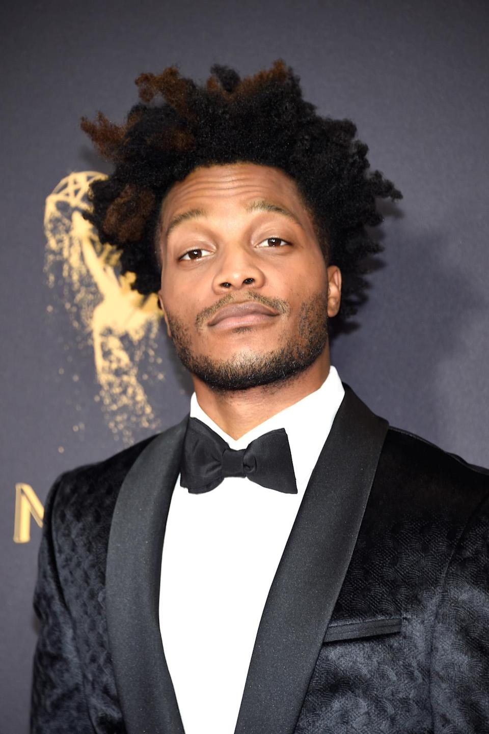 <p>Jermaine Fowler's amazing two-toned 'fro is as captivating as his spiffy tuxedo. (Photo: Kevin Mazur/WireImage) </p>