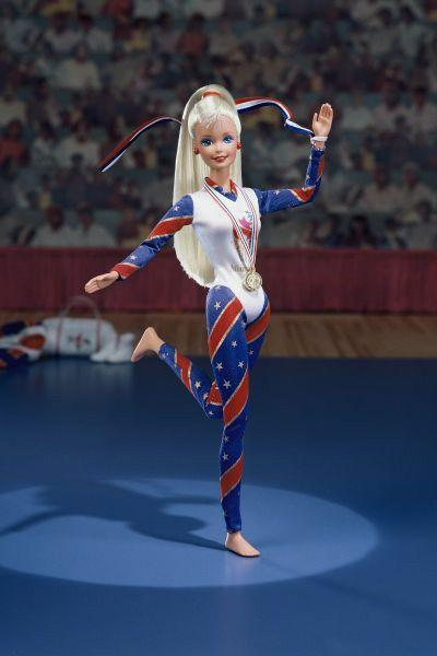 <p>Gymnast Barbie effortlessly takes the gold in a very patriotic ensemble. </p>