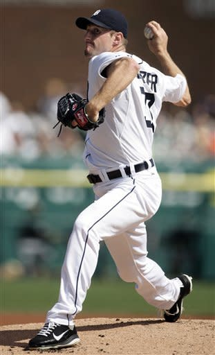Detroit Tigers starter Max Scherzer pitches against the Chicago White Sox in the first inning of a baseball game, Saturday, May 5, 2012, in Detroit. (AP Photo/Duane Burleson)