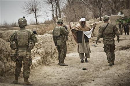 U.S. troops stop a man to search him while on patrol near Command Outpost AJK (short for Azim-Jan-Kariz, a near-by village) in Maiwand District, Kandahar Province, Afghanistan