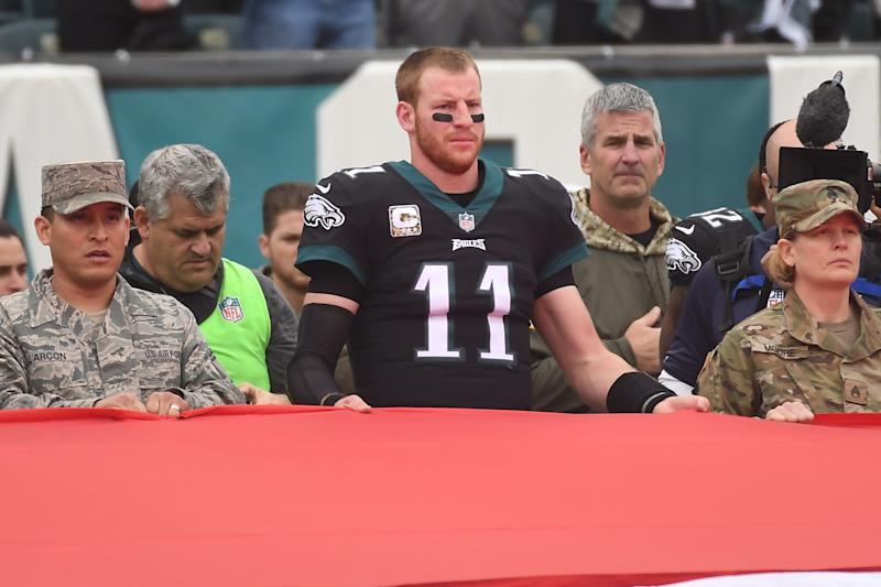 Eagles quarterback Carson Wentz spoke out on the nation's need to eradicate racism. (Photo by Andy Lewis/Icon Sportswire via Getty Images)