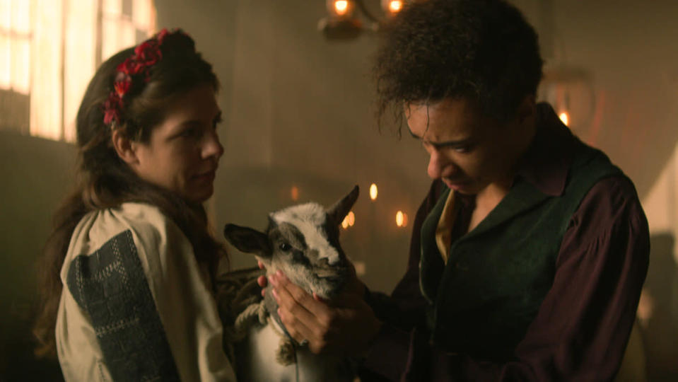 Jesper saying goodbye to Milo the goat in Shadow and Bone