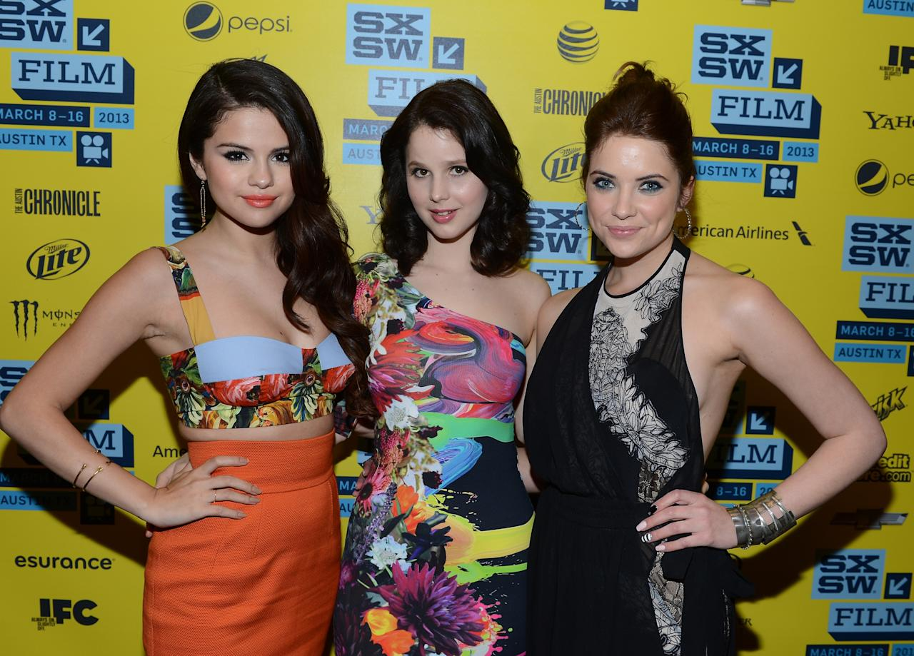 "AUSTIN, TX - MARCH 10:  (L-R) Actresses Selena Gomez, Rachel Korine and Ashley Benson attend the green room for ""Spring Breakers"" during the 2013 SXSW Music, Film + Interactive Festival""  at the Paramount Theatre on March 10, 2013 in Austin, Texas.  (Photo by Michael Buckner/Getty Images)"