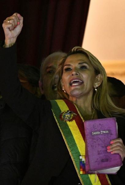Jeanine Anez, pictured in La Paz after proclaiming herself interim president on November 12, reportedly wants shed ministers loyal to Luis Fernando Camacho (AFP Photo/Aizar RALDES)