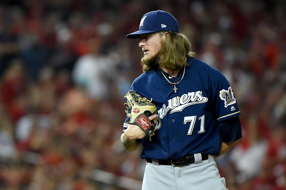 Josh Hader #71 of the Milwaukee Brewers pitches against the Washington Nationals