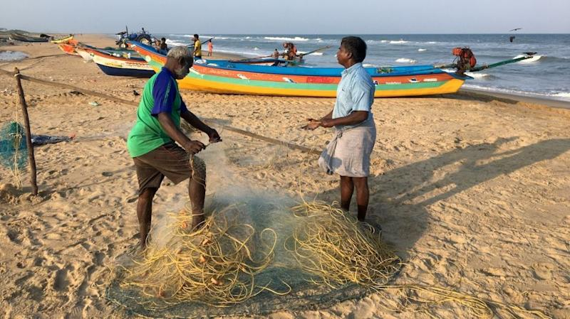 Members of the traditional fishing village of Urur-Kuppam in the southern Indian state of Tamil Nadu tend their gear. All photo by Vaishnavi Chandrashekhar.
