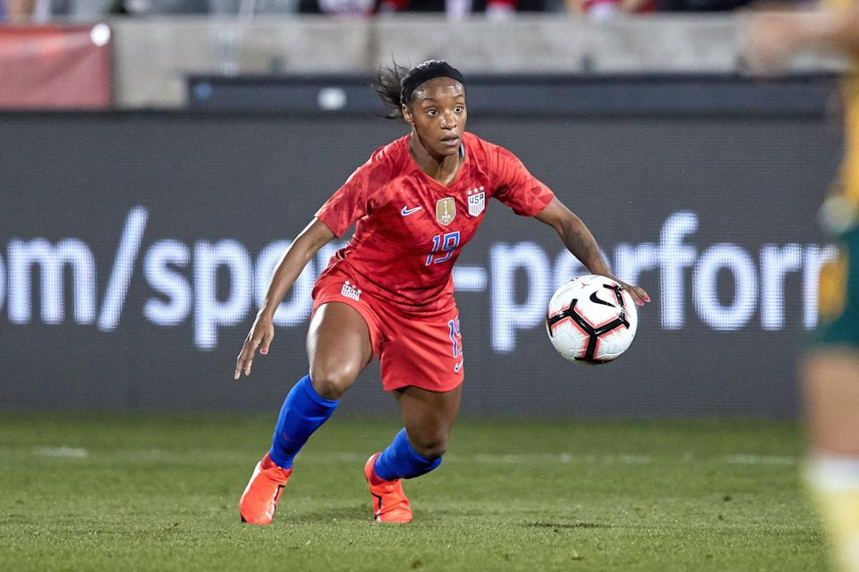 United states forward Crystal Dunn (19) controls the ball in game action during an International friendly match between the United states and Australia on April 4, 2019, at Dick's Sporting Goods Park in Commerce City, CO.