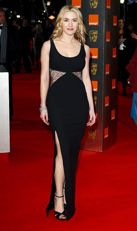 "Across town at the BAFTA Awards, Kate Winslet put her best foot forward in a sexy Stella McCartney dress with lace inserts and jewels courtesy of Tiffany. Mike Marsland/<a href=""http://www.wireimage.com"" target=""new"">WireImage.com</a> - February 21, 2010"