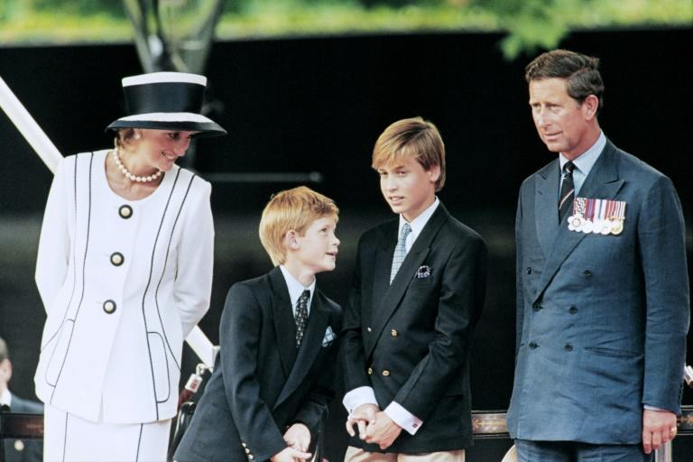 Princess Diana with sons Harry (2nd left) and William and Prince Charles in 1995, two years before her death