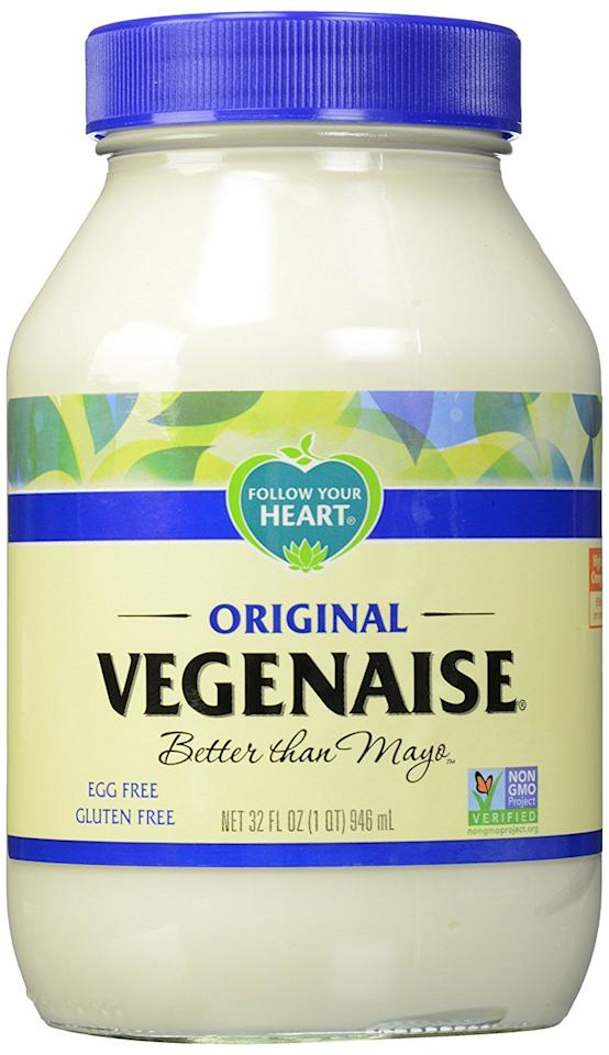 "<p>Substitute mayonnaise with this <a rel=""nofollow"" href=""https://www.popsugar.com/buy/Follow-Your-Heart-Vegenaise-113191?p_name=%20Follow%20Your%20Heart%20Vegenaise%20&retailer=amazon.com&evar1=fit%3Aus&evar9=44473203&evar98=https%3A%2F%2Fwww.popsugar.com%2Ffitness%2Fphoto-gallery%2F44473203%2Fimage%2F44473208%2FFollow-Your-Heart-Vegenaise&prop13=desktop&pdata=1"" rel=""nofollow""> Follow Your Heart Vegenaise </a> ($5) on your sandwiches.</p>"