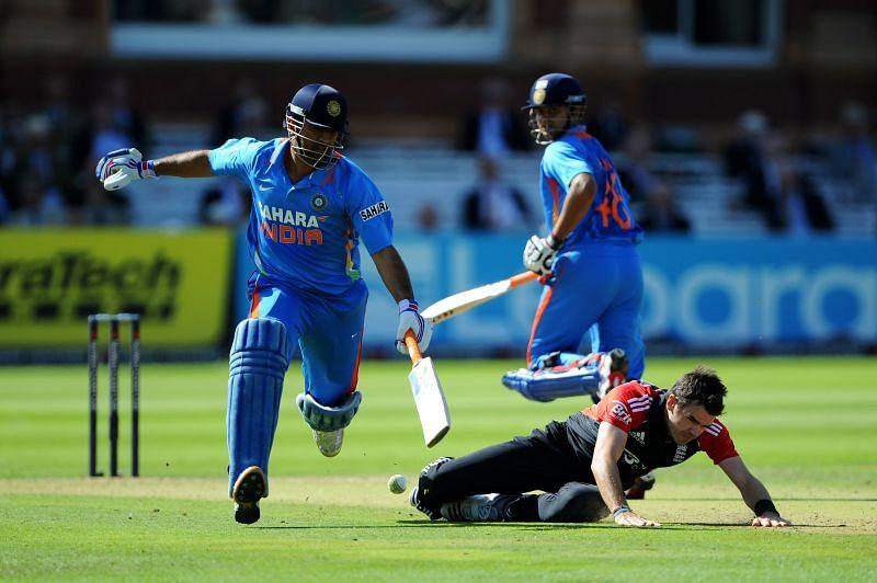 MS Dhoni and Suresh Raina in action against England