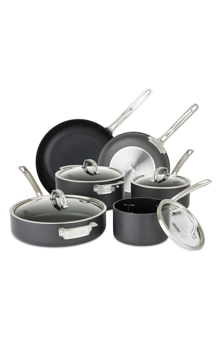 """Perfect for a starter kitchen or for refreshing what you've got, this 10-piece set from Viking also claims to be compatible with metal utensils. $500, Nordstrom. <a href=""""https://www.nordstrom.com/s/viking-hard-anodized-nonstick-10-piece-cookware-set/5663717"""" rel=""""nofollow noopener"""" target=""""_blank"""" data-ylk=""""slk:Get it now!"""" class=""""link rapid-noclick-resp"""">Get it now!</a>"""