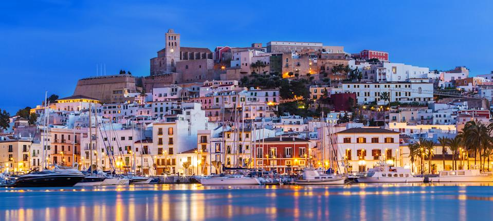 Ibiza's downtown at night. (Photo: Getty Images)