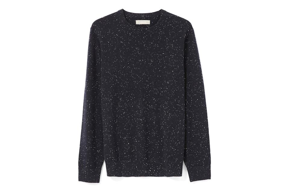 "$130, Everlane. <a href=""https://www.everlane.com/products/mens-cashmere-cr-navy-donegal?collection=mens-sale"" rel=""nofollow noopener"" target=""_blank"" data-ylk=""slk:Get it now!"" class=""link rapid-noclick-resp"">Get it now!</a>"