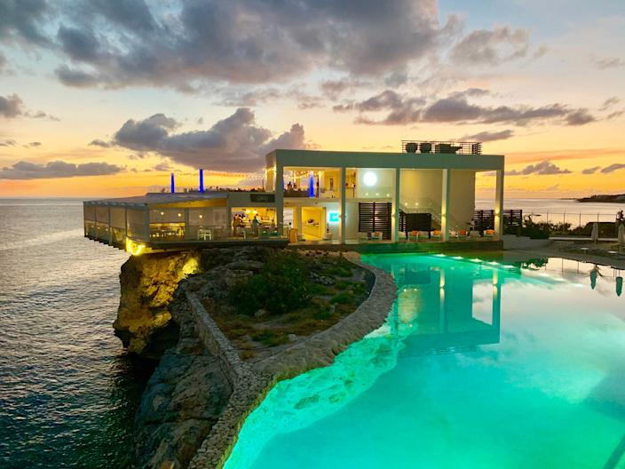 In Sint Maarten, sunsets are magical at Casa Blue restaurant at Sonesta Ocean Point, which reopens July 1.